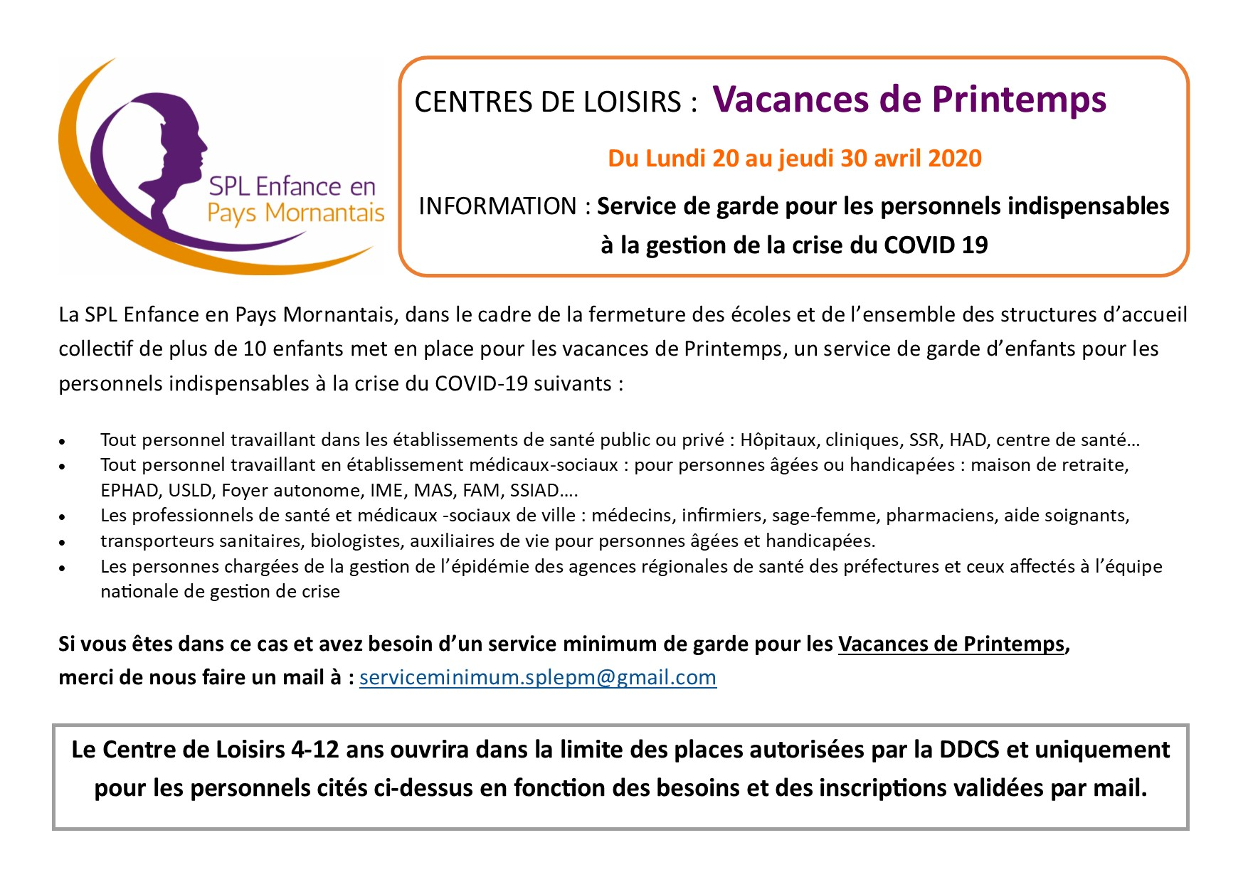 Info vacances Printemps Alsh service Minimum