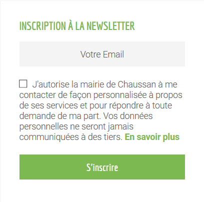 inscription newsletter chaussan